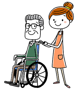 車椅子を押すイラスト
